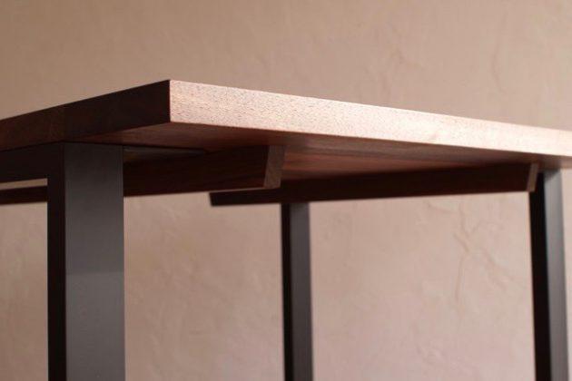 ウォールナット スチールレッグ テーブル